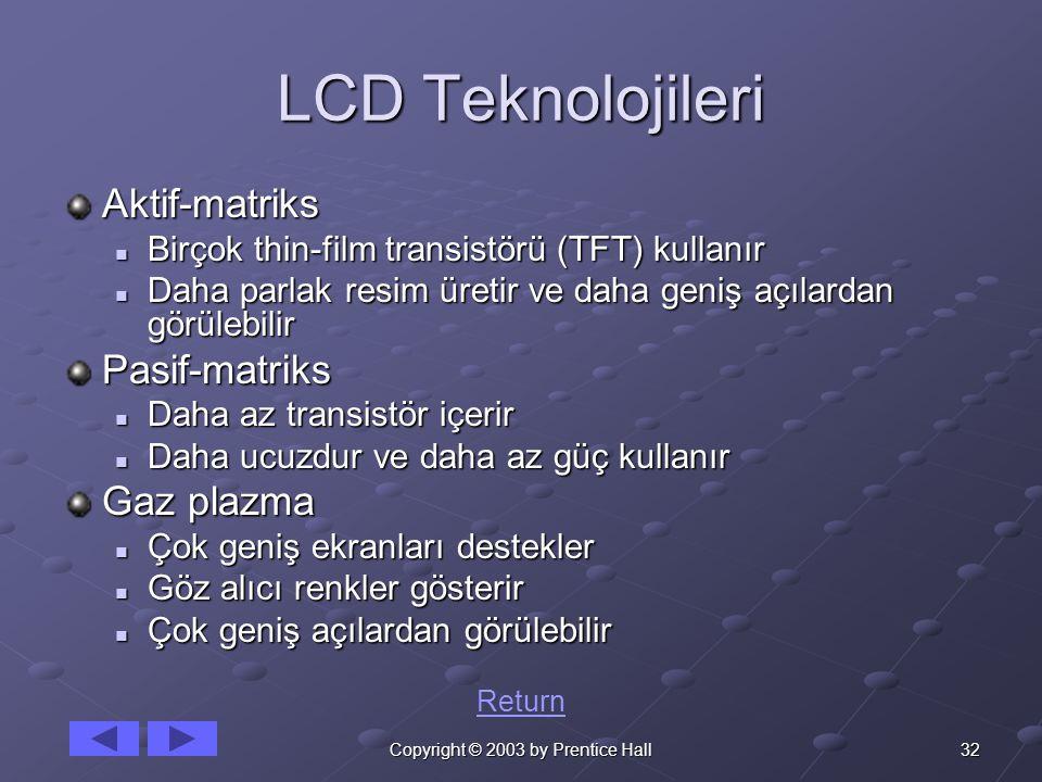 32Copyright © 2003 by Prentice Hall LCD Teknolojileri Aktif-matriks Birçok thin-film transistörü (TFT) kullanır Birçok thin-film transistörü (TFT) kul