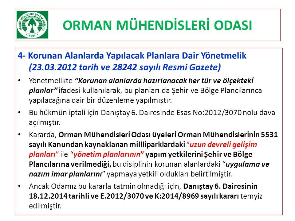 """ORMAN MÜHENDİSLERİ ODASI 4- Korunan Alanlarda Yapılacak Planlara Dair Yönetmelik (23.03.2012 tarih ve 28242 sayılı Resmi Gazete) Yönetmelikte """"Korunan"""