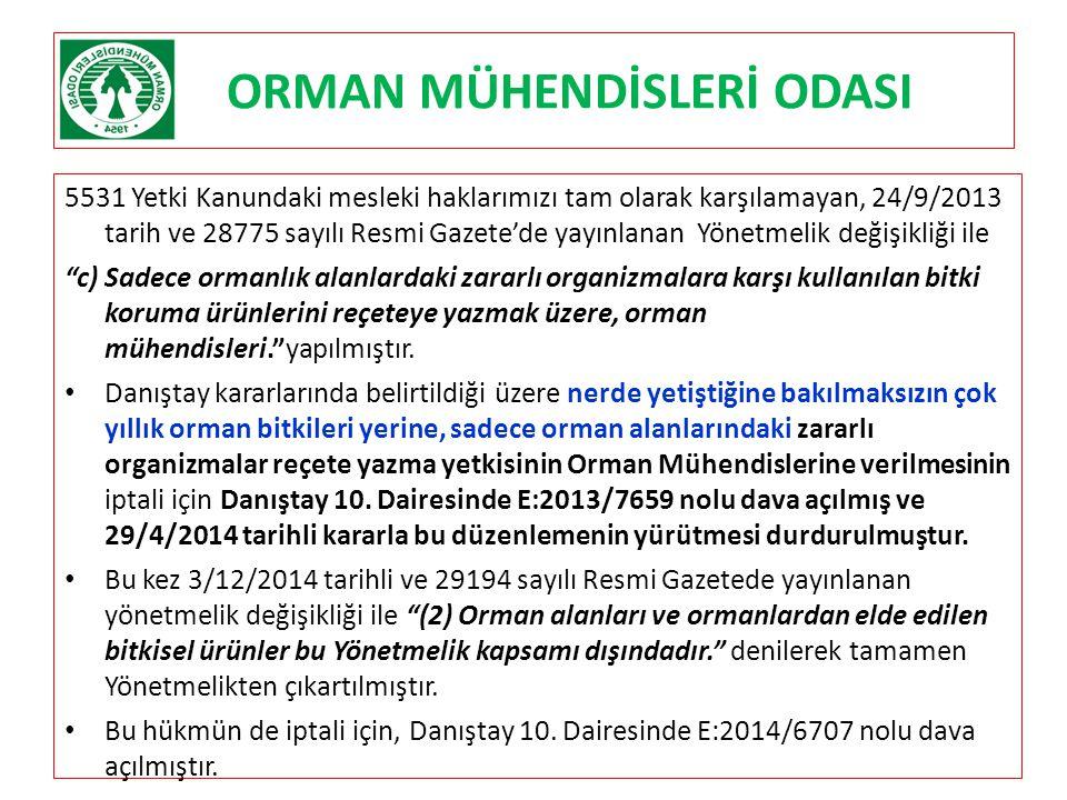 ORMAN MÜHENDİSLERİ ODASI 5531 Yetki Kanundaki mesleki haklarımızı tam olarak karşılamayan, 24/9/2013 tarih ve 28775 sayılı Resmi Gazete'de yayınlanan