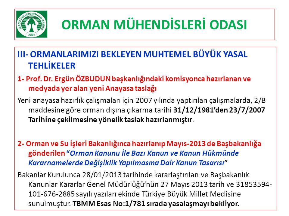 ORMAN MÜHENDİSLERİ ODASI III- ORMANLARIMIZI BEKLEYEN MUHTEMEL BÜYÜK YASAL TEHLİKELER 1- Prof. Dr. Ergün ÖZBUDUN başkanlığındaki komisyonca hazırlanan