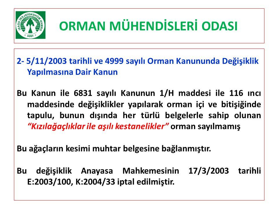 ORMAN MÜHENDİSLERİ ODASI 2- 5/11/2003 tarihli ve 4999 sayılı Orman Kanununda Değişiklik Yapılmasına Dair Kanun Bu Kanun ile 6831 sayılı Kanunun 1/H ma