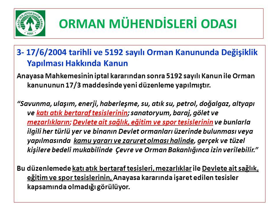 ORMAN MÜHENDİSLERİ ODASI 3- 17/6/2004 tarihli ve 5192 sayılı Orman Kanununda Değişiklik Yapılması Hakkında Kanun Anayasa Mahkemesinin iptal kararından
