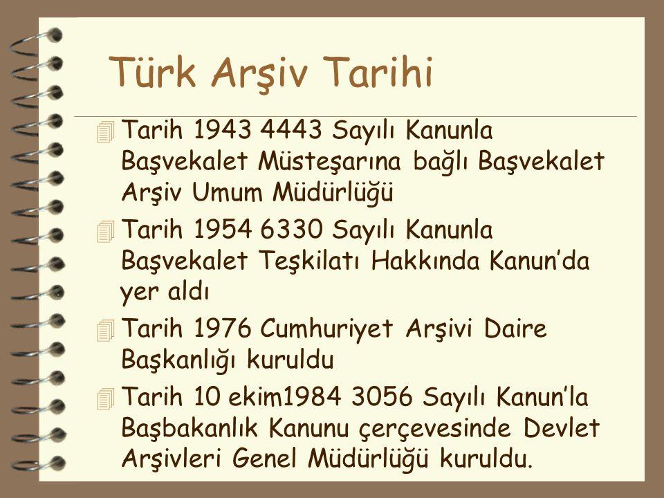 Türk Arşiv Tarihi 4 Tarih 1927 Başvekalet Kalem-i Mahsus Müdürlüğü'ne bağlı Mahzen-i Evrak Mümeyyizliği 4 Tarih 1929 Baş Muamelat Müdürlüğüne bağlı 4