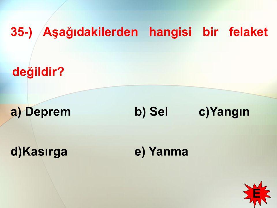 35-) Aşağıdakilerden hangisi bir felaket değildir? a) Deprem b) Sel c)Yangın d)Kasırga e) Yanma E