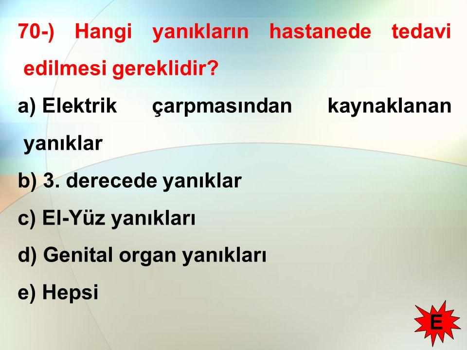 70-) Hangi yanıkların hastanede tedavi edilmesi gereklidir.