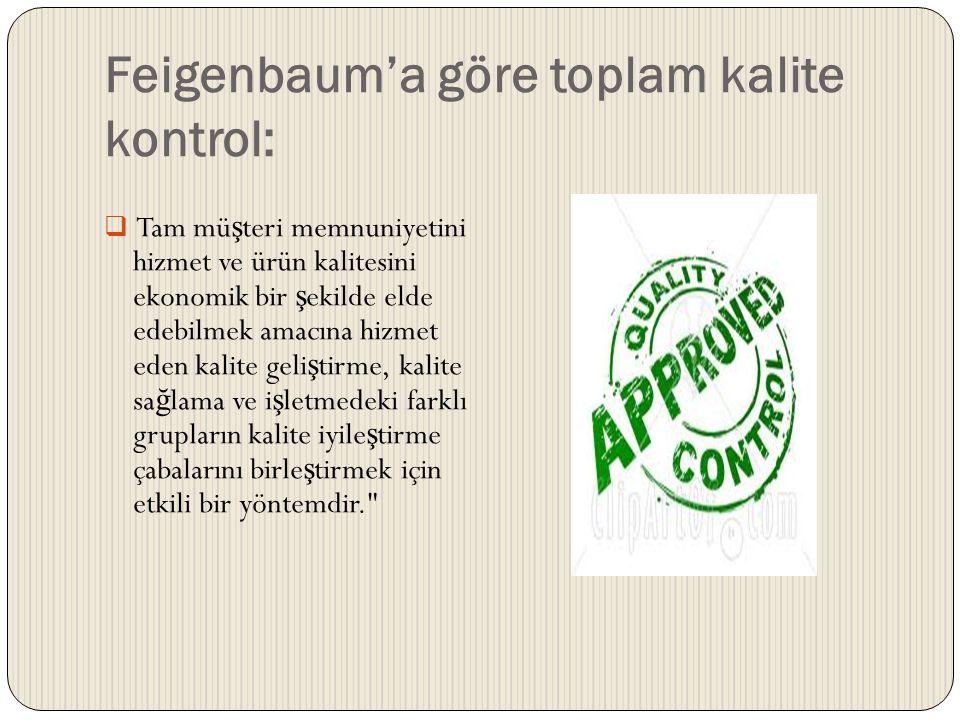 Feigenbaum'a göre toplam kalite kontrol:  Tam mü ş teri memnuniyetini hizmet ve ürün kalitesini ekonomik bir ş ekilde elde edebilmek amacına hizmet e