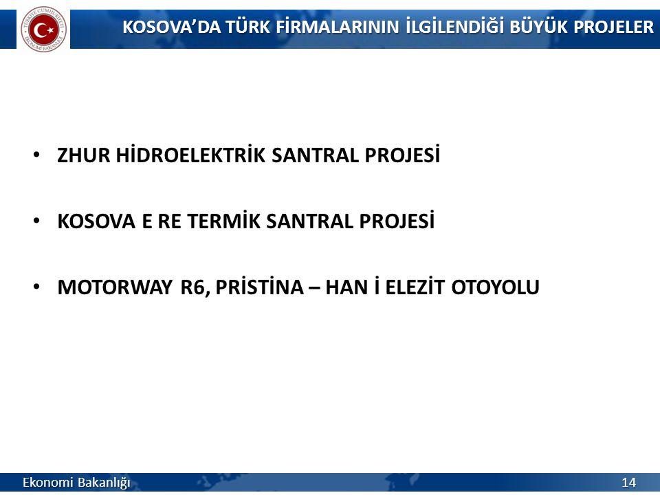 ZHUR HİDROELEKTRİK SANTRAL PROJESİ KOSOVA E RE TERMİK SANTRAL PROJESİ MOTORWAY R6, PRİSTİNA – HAN İ ELEZİT OTOYOLU KOSOVA'DA TÜRK FİRMALARININ İLGİLEN