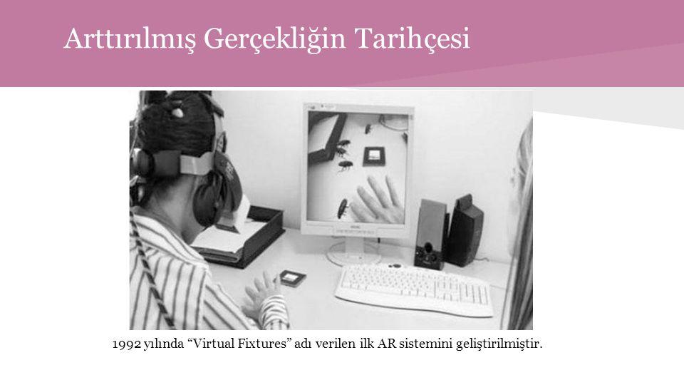 Arttırılmış Gerçekliğin Tarihçesi 1992 yılında Virtual Fixtures adı verilen ilk AR sistemini geliştirilmiştir.