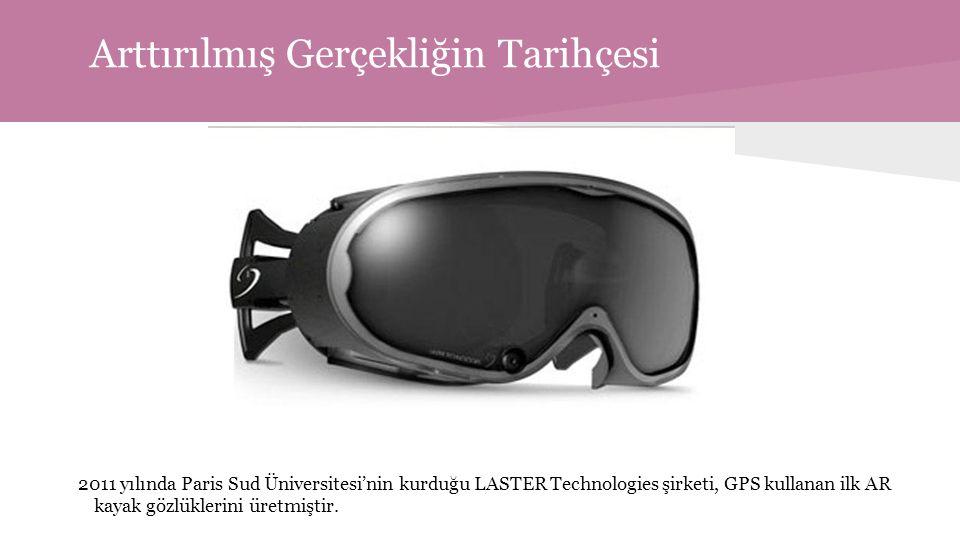 Arttırılmış Gerçekliğin Tarihçesi 2011 yılında Paris Sud Üniversitesi'nin kurduğu LASTER Technologies şirketi, GPS kullanan ilk AR kayak gözlüklerini üretmiştir.