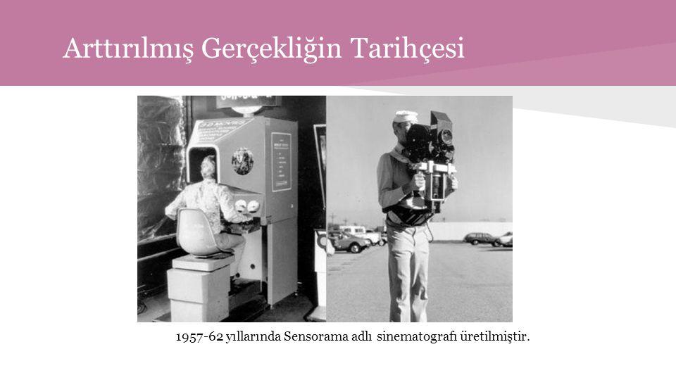 Arttırılmış Gerçekliğin Tarihçesi 1957-62 yıllarında Sensorama adlı sinematografı üretilmiştir.