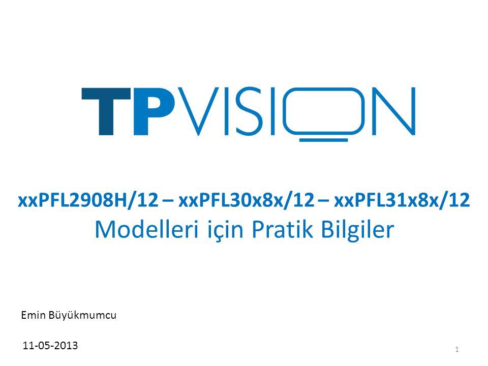 xxPFL2908H/12 – xxPFL30x8x/12 – xxPFL31x8x/12 Modelleri için Pratik Bilgiler 11-05-2013 Emin Büyükmumcu 1