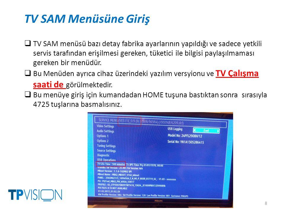 8 TV SAM Menüsüne Giriş  TV SAM menüsü bazı detay fabrika ayarlarının yapıldığı ve sadece yetkili servis tarafından erişilmesi gereken, tüketici ile bilgisi paylaşılmaması gereken bir menüdür.