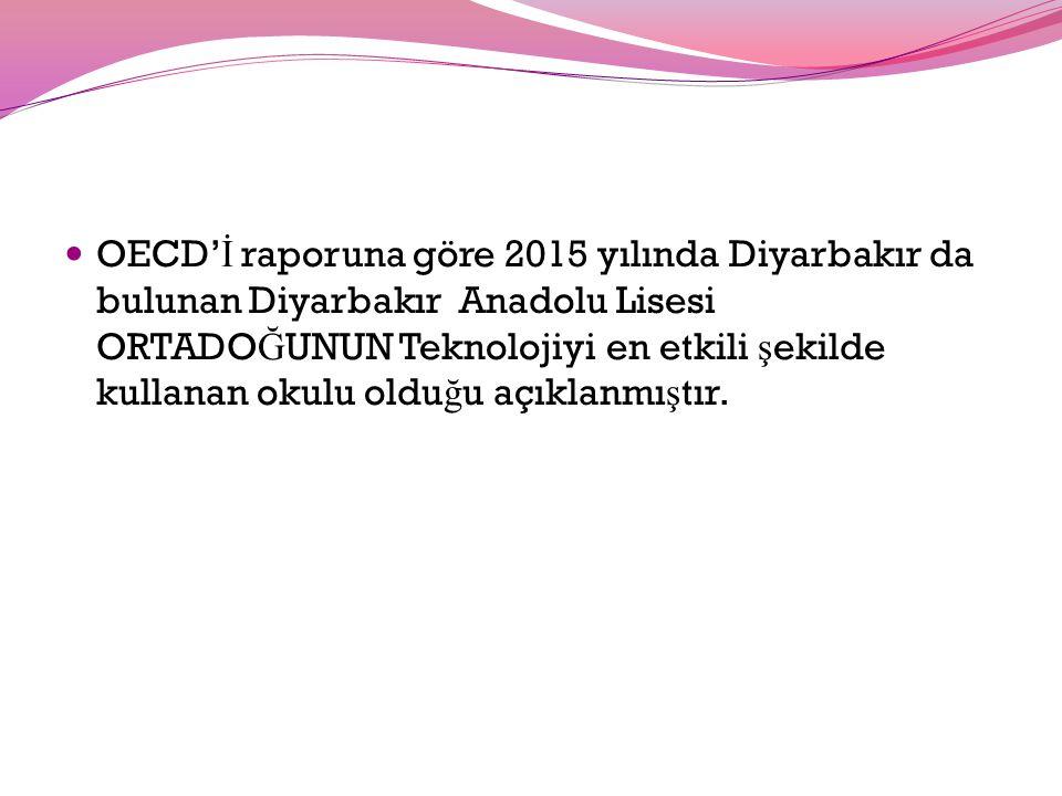 OECD' İ raporuna göre 2015 yılında Diyarbakır da bulunan Diyarbakır Anadolu Lisesi ORTADO Ğ UNUN Teknolojiyi en etkili ş ekilde kullanan okulu oldu ğ u açıklanmı ş tır.