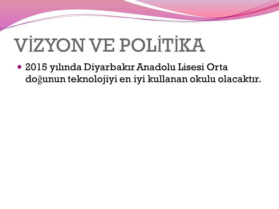 V İ ZYON VE POL İ T İ KA 2015 yılında Diyarbakır Anadolu Lisesi Orta do ğ unun teknolojiyi en iyi kullanan okulu olacaktır.
