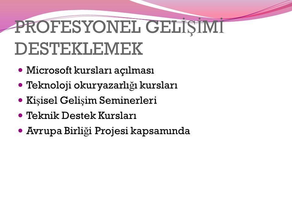 PROFESYONEL GEL İŞİ M İ DESTEKLEMEK Microsoft kursları açılması Teknoloji okuryazarlı ğ ı kursları Ki ş isel Geli ş im Seminerleri Teknik Destek Kursları Avrupa Birli ğ i Projesi kapsamında