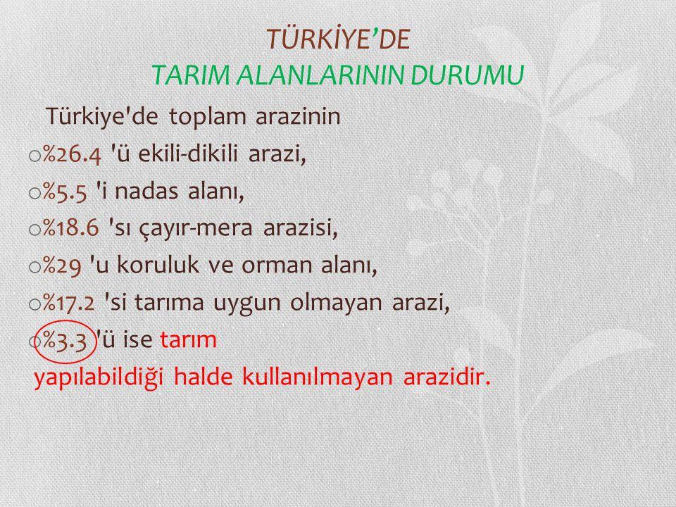 TÜRKİYE'DE TARIM ALANLARININ DURUMU Türkiye'de toplam arazinin o %26.4 'ü ekili-dikili arazi, o %5.5 'i nadas alanı, o %18.6 'sı çayır-mera arazisi, o
