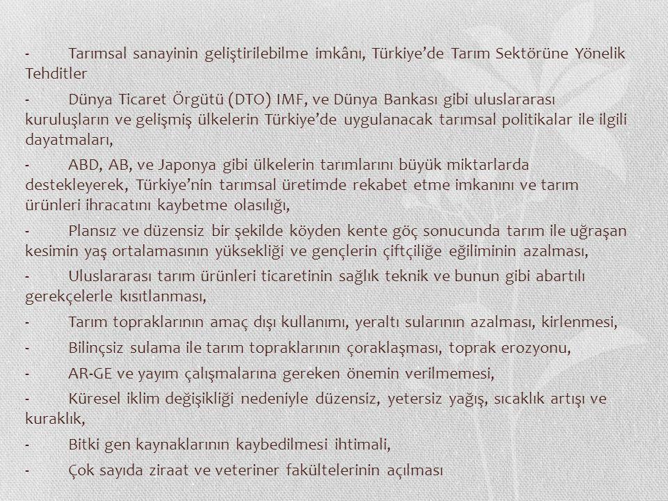 - Tarımsal sanayinin geliştirilebilme imkânı, Türkiye'de Tarım Sektörüne Yönelik Tehditler - Dünya Ticaret Örgütü (DTO) IMF, ve Dünya Bankası gibi ulu