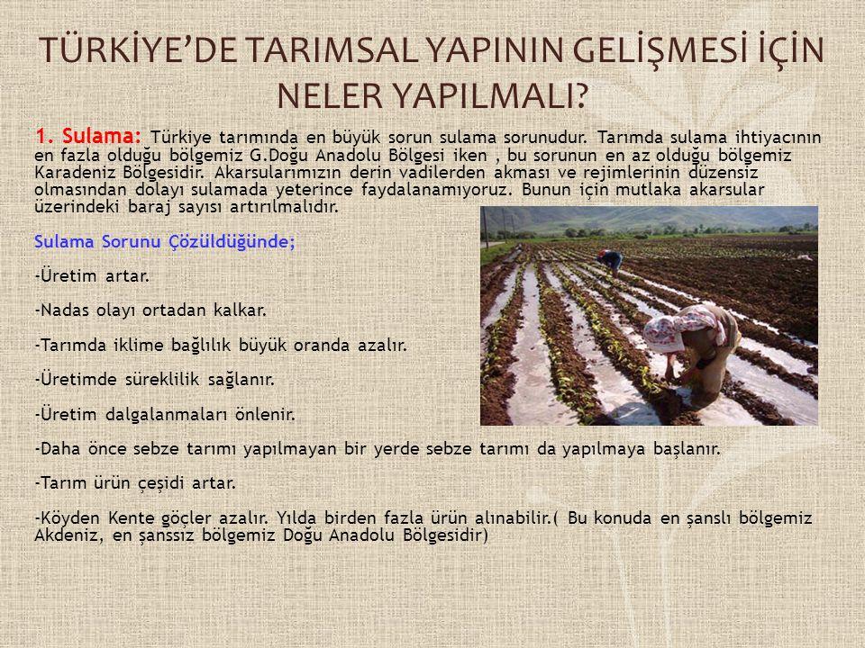 TÜRKİYE'DE TARIMSAL YAPININ GELİŞMESİ İÇİN NELER YAPILMALI? 1. Sulama: Türkiye tarımında en büyük sorun sulama sorunudur. Tarımda sulama ihtiyacının e