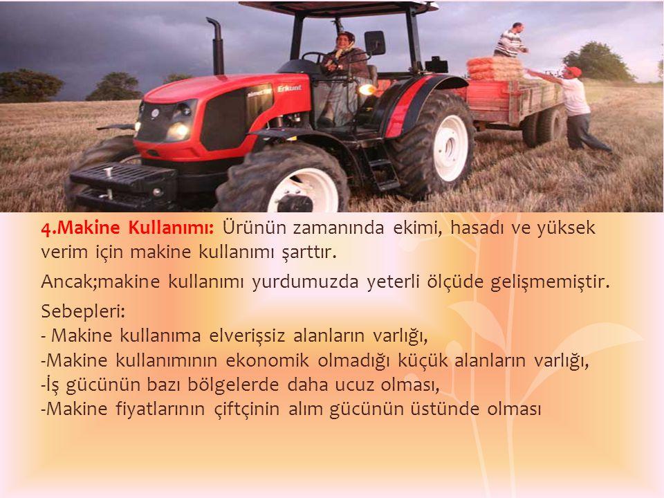 4.Makine Kullanımı: Ürünün zamanında ekimi, hasadı ve yüksek verim için makine kullanımı şarttır. Ancak;makine kullanımı yurdumuzda yeterli ölçüde gel