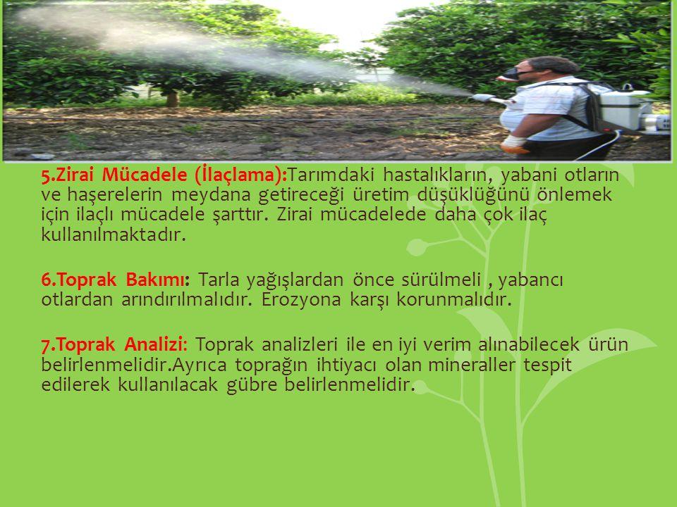 5.Zirai Mücadele (İlaçlama):Tarımdaki hastalıkların, yabani otların ve haşerelerin meydana getireceği üretim düşüklüğünü önlemek için ilaçlı mücadele