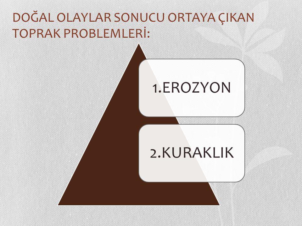 DOĞAL OLAYLAR SONUCU ORTAYA ÇIKAN TOPRAK PROBLEMLERİ: 1.EROZYON2.KURAKLIK