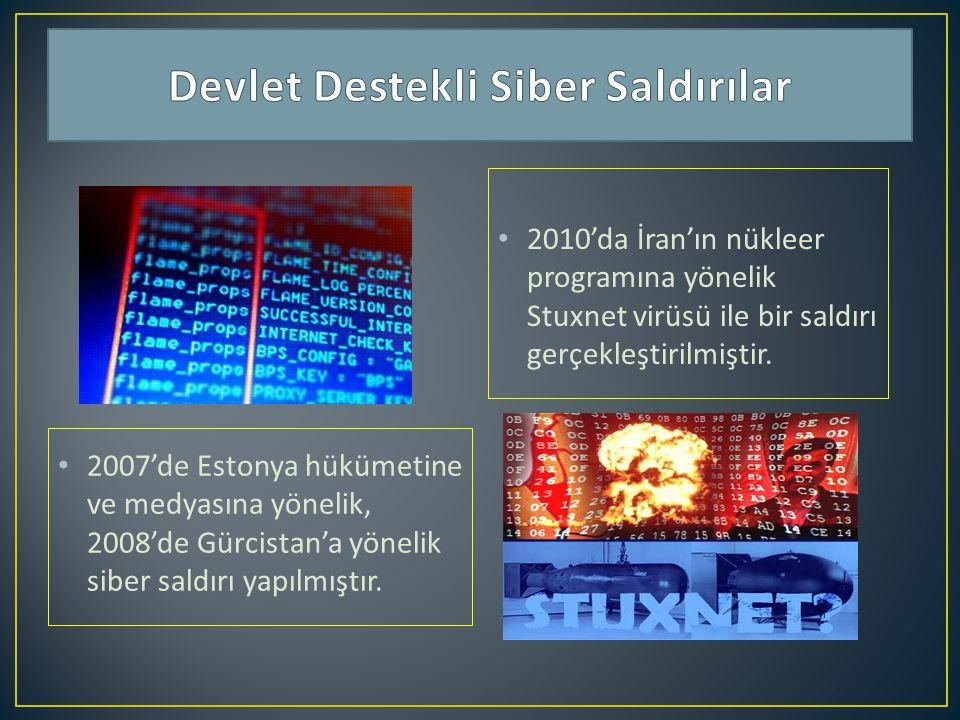 2007'de Estonya hükümetine ve medyasına yönelik, 2008'de Gürcistan'a yönelik siber saldırı yapılmıştır. 2010'da İran'ın nükleer programına yönelik Stu