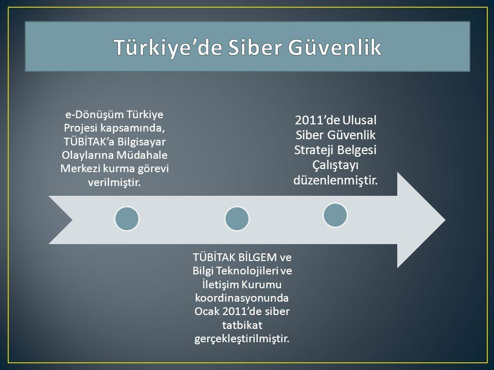e-Dönüşüm Türkiye Projesi kapsamında, TÜBİTAK'a Bilgisayar Olaylarına Müdahale Merkezi kurma görevi verilmiştir. TÜBİTAK BİLGEM ve Bilgi Teknolojileri