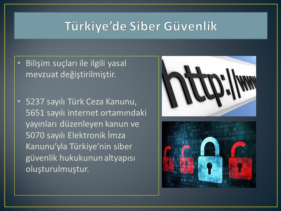 Bilişim suçları ile ilgili yasal mevzuat değiştirilmiştir. 5237 sayılı Türk Ceza Kanunu, 5651 sayılı internet ortamındaki yayınları düzenleyen kanun v