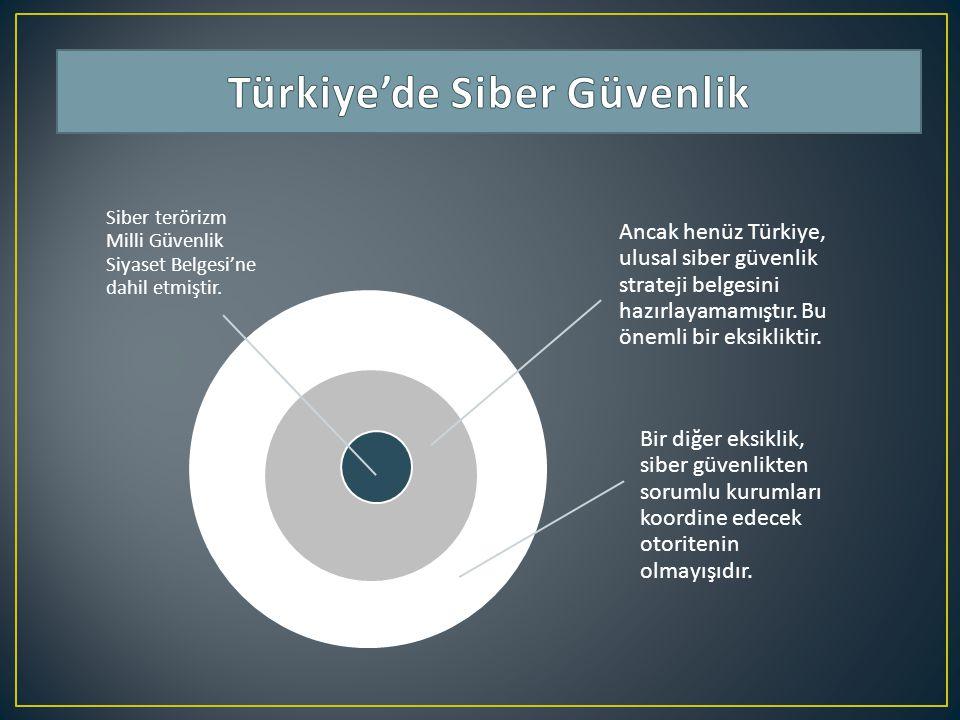 Ancak henüz Türkiye, ulusal siber güvenlik strateji belgesini hazırlayamamıştır. Bu önemli bir eksikliktir. Bir diğer eksiklik, siber güvenlikten soru