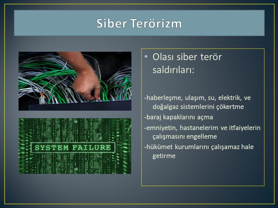 Olası siber terör saldırıları: -haberleşme, ulaşım, su, elektrik, ve doğalgaz sistemlerini çökertme -baraj kapaklarını açma -emniyetin, hastanelerim v