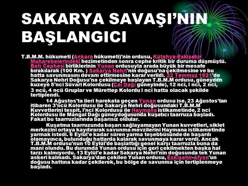 SAKARYA SAVAŞI'NIN BAŞLANGICI T.B.M.M. hükumeti (Ankara hükumeti)'nin ordusu, Kütahya-Eskişehir Muharebelerindeki hezimetinden sonra cephe kritik bir