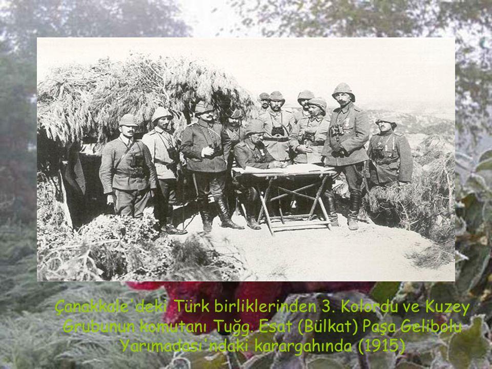 Çanakkale'de savaşan komutanlardan bir grup:Önde oturanlar (sağdan); Hulusi ve Nazmi Beyler, Ayaktakiler (sağdan); 3. Kor. K. Esat (Bülkat) Paşa, Anaf