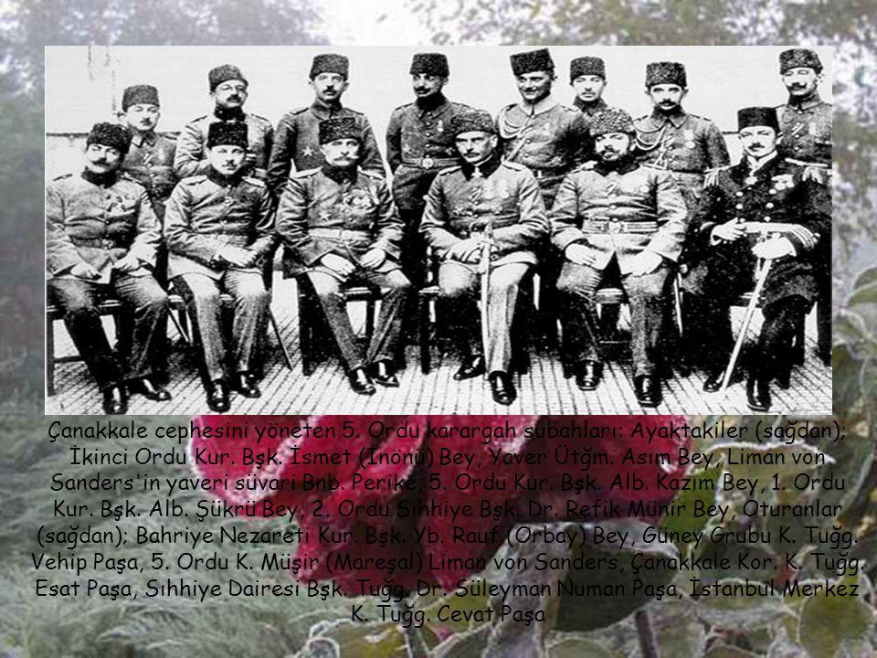 Başkomutan Vekili Enver Paşa komutanlarla Çanakkale'de denetlemede (1914 sonraları)