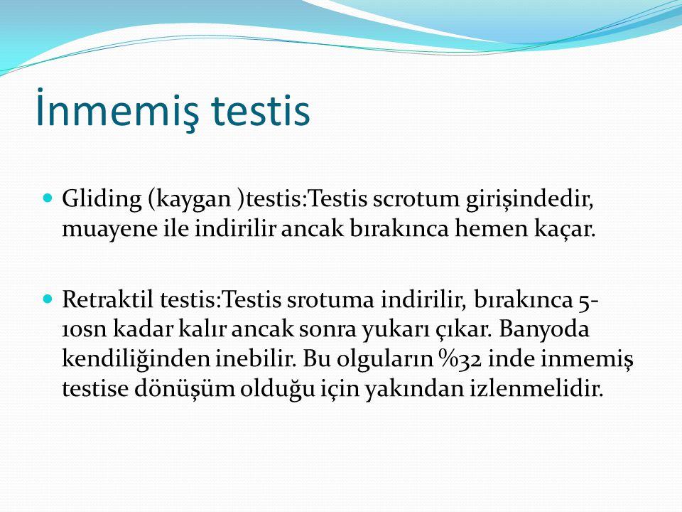 İnmemiş testis Gliding (kaygan )testis:Testis scrotum girişindedir, muayene ile indirilir ancak bırakınca hemen kaçar. Retraktil testis:Testis srotuma