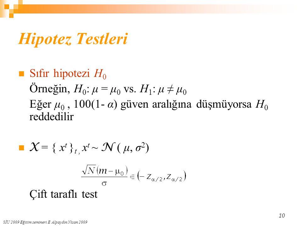 SİU 2009 Eğitim semineri E Alpaydın Nisan 2009 10 Hipotez Testleri Sıfır hipotezi H 0 Örneğin, H 0 : μ = μ 0 vs. H 1 : μ ≠ μ 0 Eğer μ 0, 100(1- α) güv