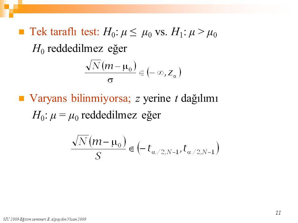 SİU 2009 Eğitim semineri E Alpaydın Nisan 2009 11 Tek taraflı test: H 0 : μ ≤ μ 0 vs. H 1 : μ > μ 0 H 0 reddedilmez eğer Varyans bilinmiyorsa; z yerin