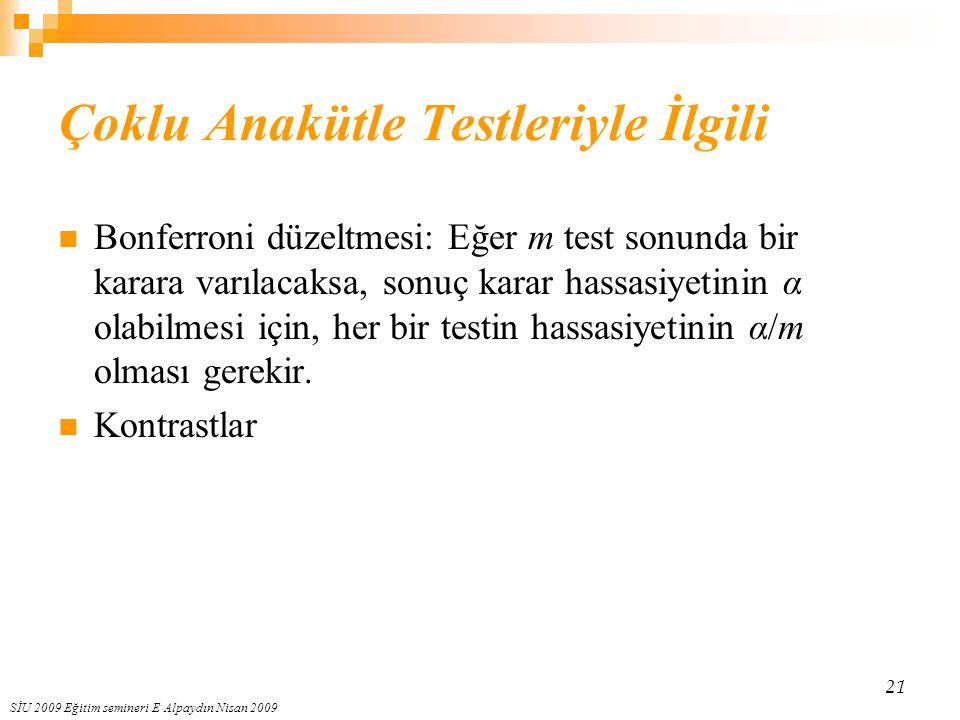 SİU 2009 Eğitim semineri E Alpaydın Nisan 2009 21 Çoklu Anakütle Testleriyle İlgili Bonferroni düzeltmesi: Eğer m test sonunda bir karara varılacaksa,