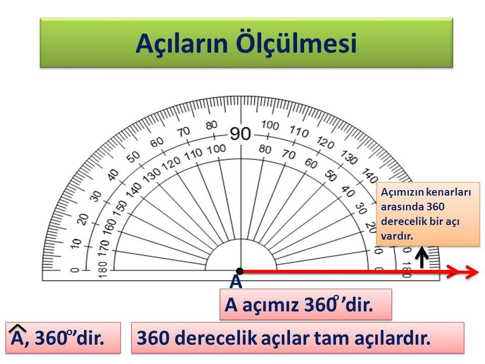 Açıların Ölçülmesi Açımızın kenarları arasında 360 derecelik bir açı vardır. A, 360 'dir. A A açımız 360 'dir. o o 360 derecelik açılar tam açılardır.