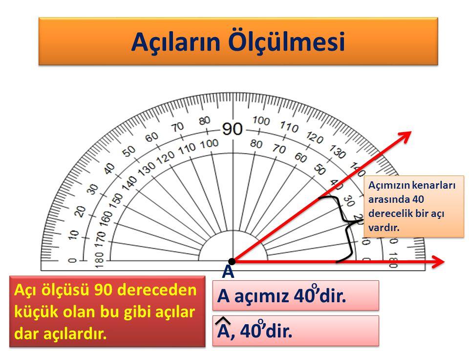 Açıların Ölçülmesi Açımızın kenarları arasında 40 derecelik bir açı vardır. A, 40'dir. A A açımız 40'dir. o o Açı ölçüsü 90 dereceden küçük olan bu gi