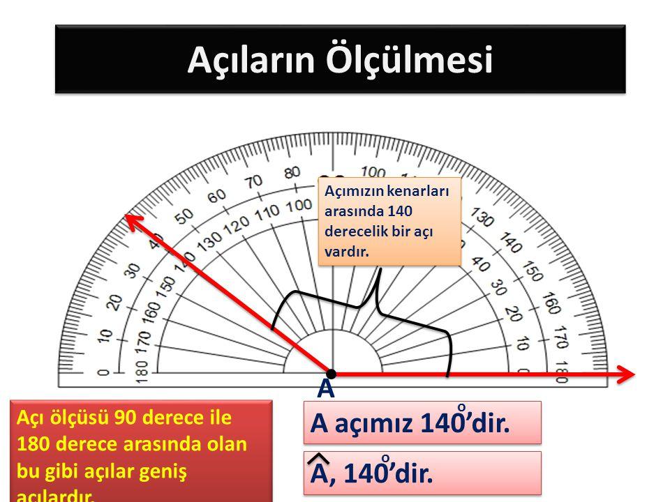 Açıların Ölçülmesi Açımızın kenarları arasında 140 derecelik bir açı vardır. A, 140'dir. A A açımız 140'dir. o o Açı ölçüsü 90 derece ile 180 derece a