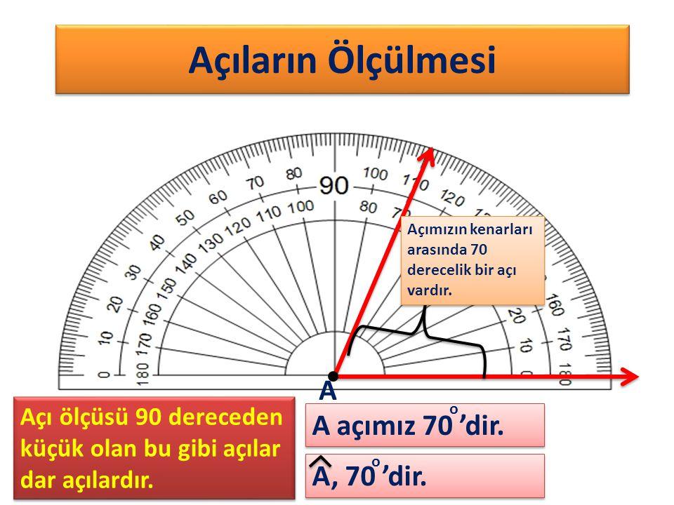 Açıların Ölçülmesi Açımızın kenarları arasında 70 derecelik bir açı vardır. A, 70 'dir. A A açımız 70 'dir. o o Açı ölçüsü 90 dereceden küçük olan bu
