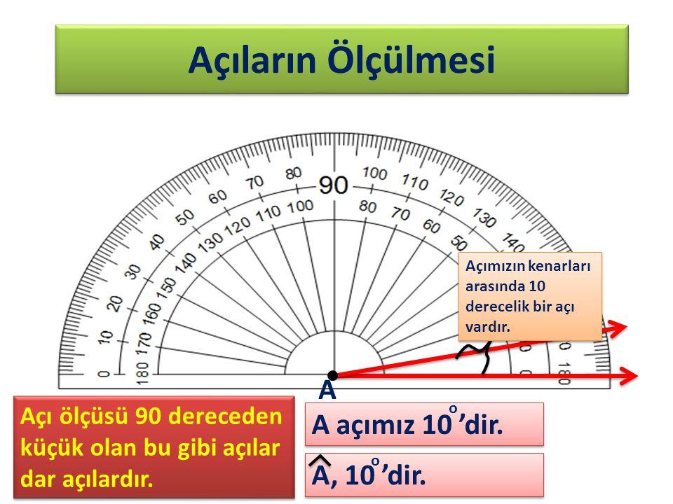 Açıların Ölçülmesi Açımızın kenarları arasında 10 derecelik bir açı vardır. A, 10 'dir. A A açımız 10 'dir. o o Açı ölçüsü 90 dereceden küçük olan bu