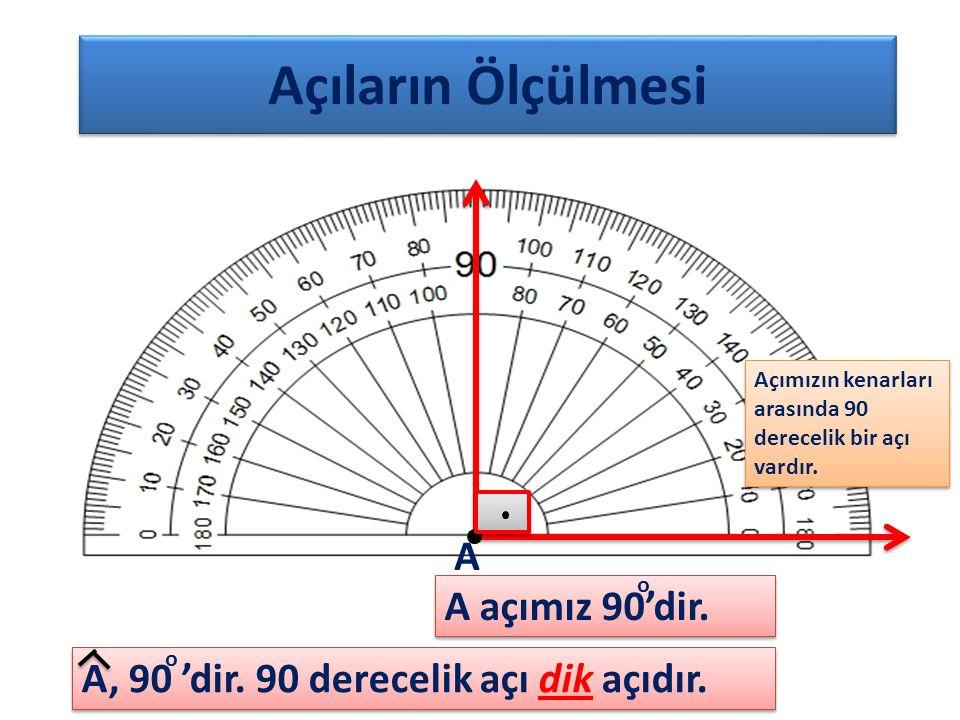 Açıların Ölçülmesi Açımızın kenarları arasında 90 derecelik bir açı vardır. A, 90 'dir. 90 derecelik açı dik açıdır. A A açımız 90'dir. o o
