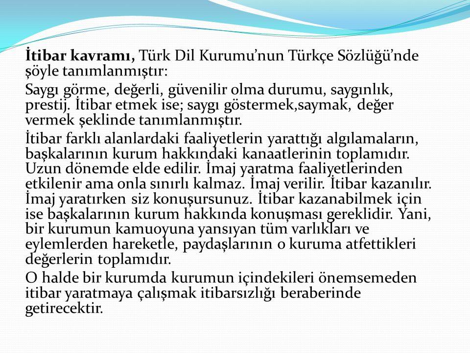 İtibar kavramı, Türk Dil Kurumu'nun Türkçe Sözlüğü'nde şöyle tanımlanmıştır: Saygı görme, değerli, güvenilir olma durumu, saygınlık, prestij.