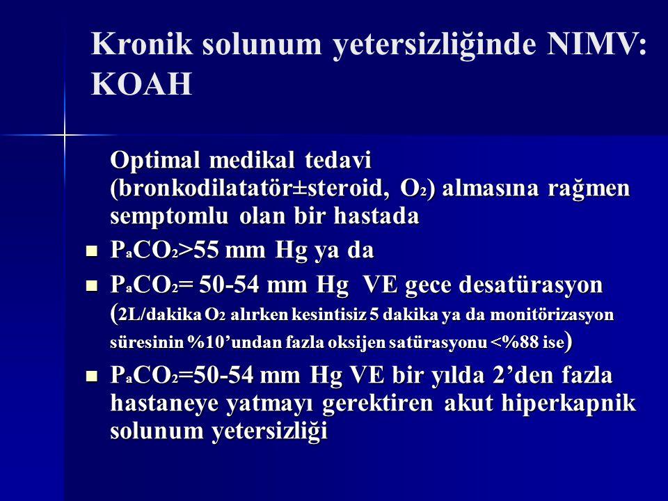 Kronik solunum yetersizliğinde NIMV: KOAH Optimal medikal tedavi (bronkodilatatör±steroid, O 2 ) almasına rağmen semptomlu olan bir hastada P a CO 2 >55 mm Hg ya da P a CO 2 >55 mm Hg ya da P a CO 2 = 50-54 mm Hg VE gece desatürasyon ( 2L/dakika O 2 alırken kesintisiz 5 dakika ya da monitörizasyon süresinin %10'undan fazla oksijen satürasyonu <%88 ise ) P a CO 2 = 50-54 mm Hg VE gece desatürasyon ( 2L/dakika O 2 alırken kesintisiz 5 dakika ya da monitörizasyon süresinin %10'undan fazla oksijen satürasyonu <%88 ise ) P a CO 2 =50-54 mm Hg VE bir yılda 2'den fazla hastaneye yatmayı gerektiren akut hiperkapnik solunum yetersizliği P a CO 2 =50-54 mm Hg VE bir yılda 2'den fazla hastaneye yatmayı gerektiren akut hiperkapnik solunum yetersizliği