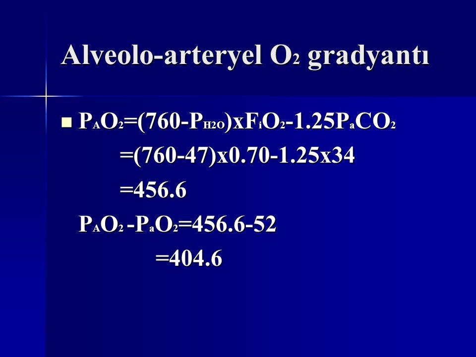 Alveolo-arteryel O 2 gradyantı P A O 2 =(760-P H2O )xF i O 2 -1.25P a CO 2 P A O 2 =(760-P H2O )xF i O 2 -1.25P a CO 2 =(760-47)x0.70-1.25x34 =(760-47)x0.70-1.25x34 =456.6 =456.6 P A O 2 -P a O 2 =456.6-52 =404.6 =404.6