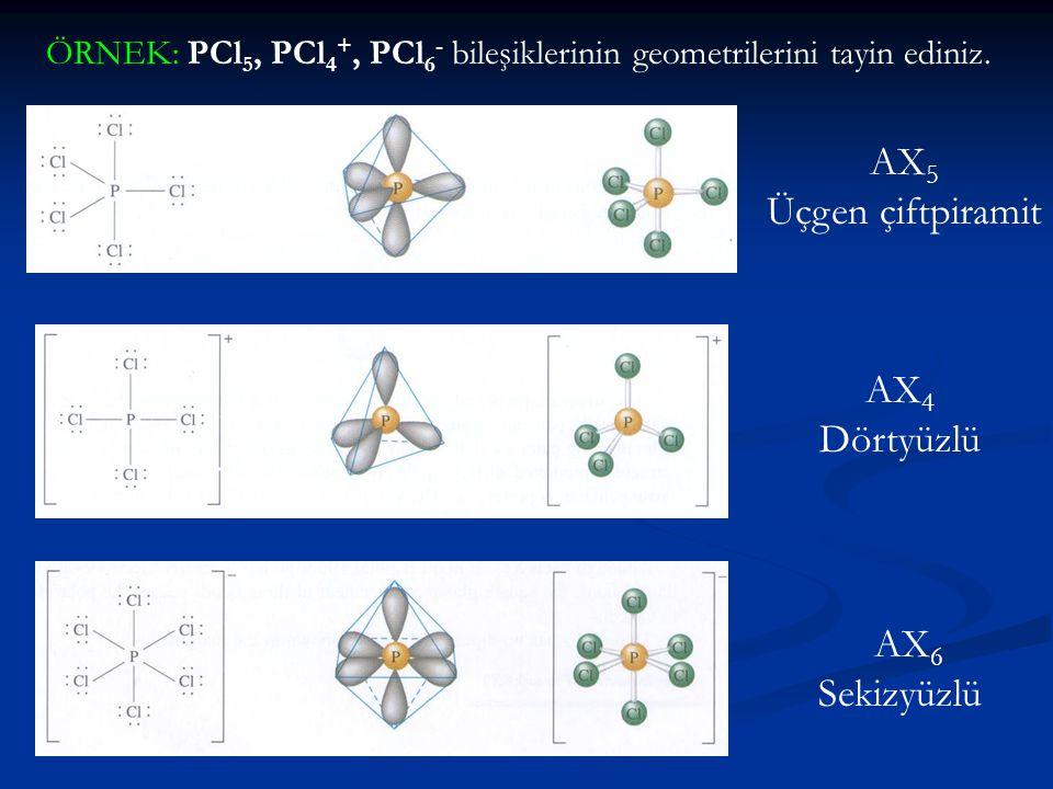 ÖRNEK: PCl 5, PCl 4 +, PCl 6 - bileşiklerinin geometrilerini tayin ediniz. AX 5 Üçgen çiftpiramit AX 4 Dörtyüzlü AX 6 Sekizyüzlü
