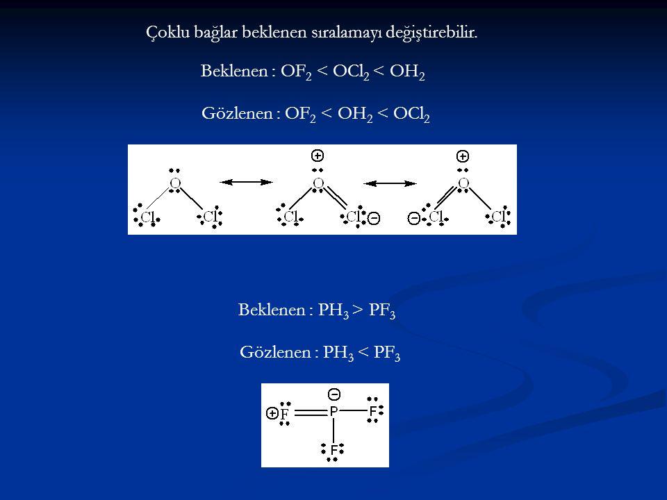 Çoklu bağlar beklenen sıralamayı değiştirebilir. Beklenen : PH 3 > PF 3 Gözlenen : PH 3 < PF 3 Beklenen : OF 2 < OCl 2 < OH 2 Gözlenen : OF 2 < OH 2 <