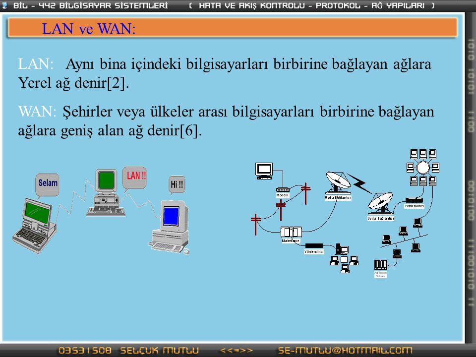 LAN ve WAN: LAN:Aynı bina içindeki bilgisayarları birbirine bağlayan ağlara Yerel ağ denir[2]. WAN: Şehirler veya ülkeler arası bilgisayarları birbiri