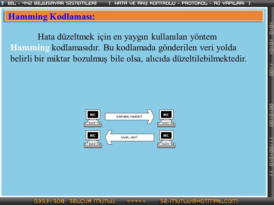Hamming Kodlaması: Hata düzeltmek için en yaygın kullanılan yöntem Hamming kodlamasıdır. Bu kodlamada gönderilen veri yolda belirli bir miktar bozulmu
